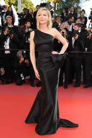 Cate Blanchett looked supremely elegant in a black one-shoulder gown by Armani Privé at the Cannes Film Festival screening of 'Girls of the Sun.'