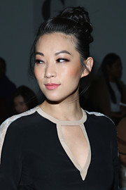 Arden Cho swept her tresses up into a twisted bun for the Giulietta fashion show.