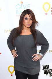 Deena Nicole Cortese kept it casual in a gray boatneck sweater at a charity event in West Hollywood.