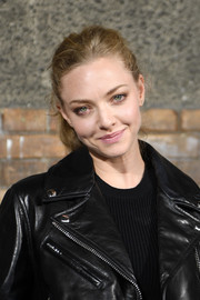 Amanda Seyfried opted for a casual ponytail when she attended the Givenchy menswear show.