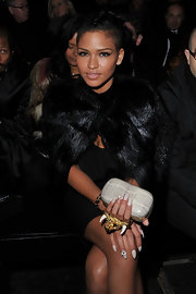 Cassie Ventura wore her nails painted ivory and embedded with tiny crystals at the Givenchy fall 2012 runway show in Paris.