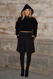 Chiara Ferragni looked oh-so-cool in a black Givenchy velvet hoodie while attending the label's Spring 2017 show.