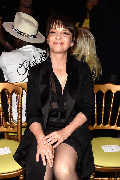 More Pics of Juliette Binoche Skirt Suit (2 of 5) - Suits Lookbook - StyleBistro [show,leg,fashion,hat,fashion accessory,thigh,sitting,style,black hair,fashion design,juliette binoche,front row,part,paris,france,givenchy,paris fashion week womenswear spring]