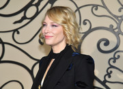 Cate Blanchett styled her hair into a curled-out bob for the Givenchy Spring 2018 show.