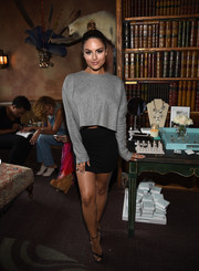 Pia Toscano contrasted her baggy top with a tight black mini.