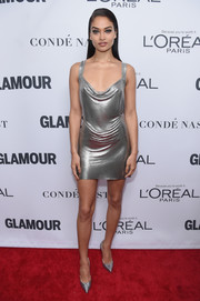 Shanina Shaik turned heads in a slinky chainmail mini dress by Fannie Schiavoni at the 2017 Glamour Women of the Year Awards.