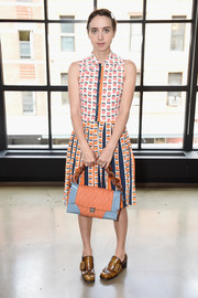 Zoe Kazan was a total cutie in this sleeveless floral-print dress during the Glamour and Facebook luncheon.