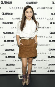 Rowan Blanchard kept it sweet in a white ruffle blouse while attending Glamour's 'A Brighter Future' event.