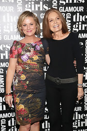Amy Poehler chose a colorful print sheath for Glamour's presentation of 'These Girls.'