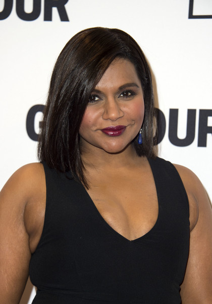 More Pics of Mindy Kaling Dangling Gemstone Earrings (1 of 9) - Dangle Earrings Lookbook - StyleBistro [hair,face,hairstyle,beauty,shoulder,black hair,chin,long hair,layered hair,brown hair,arrivals,mindy kaling,valerie macon,hollywood,california,afp,glamour women of the year]