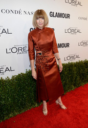 Anna Wintour looked impeccable, as always, in an Oriental-inspired rust-colored Prada dress at the Glamour Women of the Year 2016.
