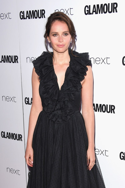 More Pics of Felicity Jones Loose Bun (1 of 7) - Felicity Jones Lookbook - StyleBistro [dress,clothing,hair,little black dress,cocktail dress,fashion model,hairstyle,fashion,shoulder,long hair,felicity jones,glamour women of the year awards,awards,england,london,berkeley square gardens,red carpet arrivals,glamour women of the year]