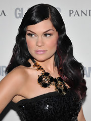 Jessie J amped up her sequin dress with a powerful black-and-gold statement necklace.