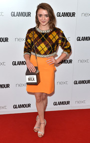 Maisie Williams sparkled in a sequin and pearl-embellished plaid top by Ashish at the Glamour Women of the Year Awards.