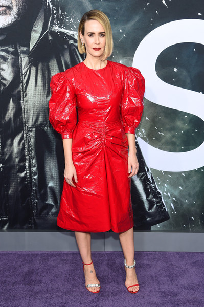 Sarah Paulson was bold and edgy in a red puff-sleeved faux-leather dress by Calvin Klein at the New York premiere of 'Glass.'