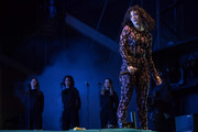 Lorde showed off her figure in a floral catsuit while performing at the 2017 Glastonbury Festival.