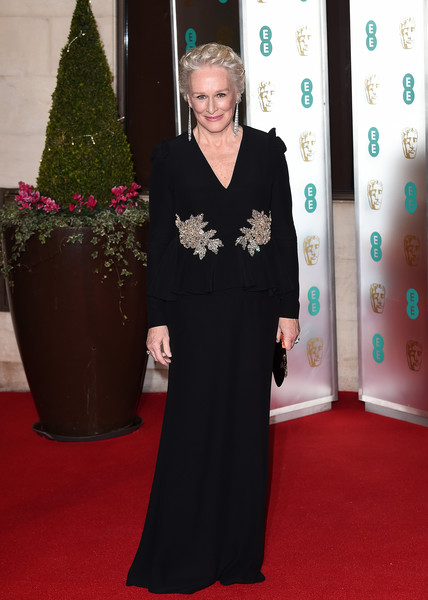 Glenn Close Beaded Dress [red carpet,carpet,flooring,clothing,dress,event,formal wear,gown,christmas decoration,red carpet arrivals,glenn close,ee,london,england,grosvenor house,british academy film awards gala,british academy film awards gala dinner]