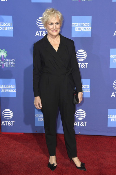Glenn Close Evening Pumps [suit,carpet,clothing,red carpet,pantsuit,formal wear,tuxedo,premiere,event,flooring,arrivals,glenn close,palm springs convention center,california,palm springs international film festival film awards gala]
