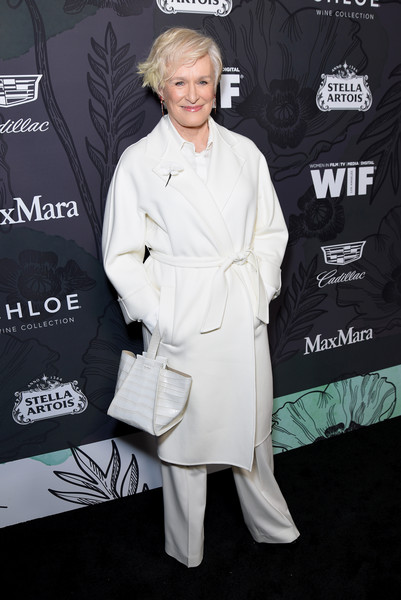 Glenn Close Leather Wristlet [trench coat,premiere,outerwear,carpet,dress,coat,flooring,style,fashion design,12th annual women in film oscar nominees party,stella artois,max mara with additional support from chloe wine collection,12th annual women in film oscar nominees party,glenn close,support,spring place,cadillac,red carpet,max mara]