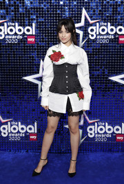Camila Cabello completed her outfit with a pair of lace-trimmed shorts by Dolce & Gabbana.