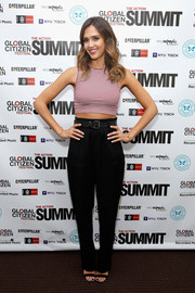 Jessica Alba showed off her casual side in a red-and-white striped crop top at the 2014 Global Citizen Festival.