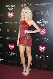 Pixie Lott paired on-trend perspex sandals with a one-shoulder mini dress for the Global Gift Gala in Ibiza.