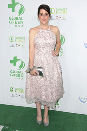 Melanie Lynskey sported a classic silhouette in this pale-pink lace halter dress during the Global Green USA pre-Oscar party.