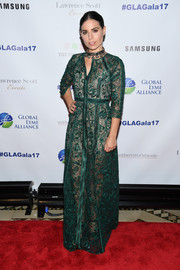 Ally Hilfiger looked regal in an intricately embroidered, sheer green gown with a nude underlay at the Global Lyme Alliance Gala.