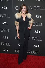LuAnn de Lesseps looked sexy in a body-con jumpsuit with fur trim at the New York screening of 'Gloria Bell.'
