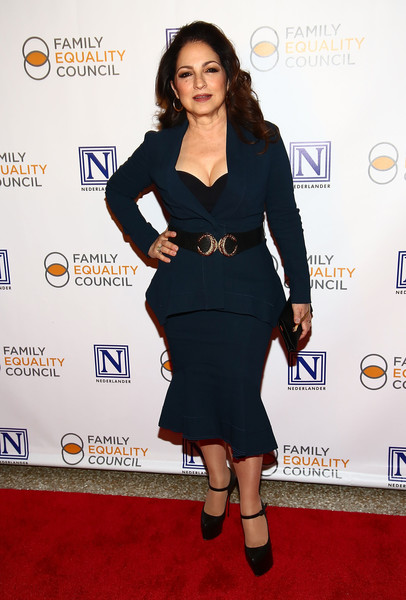 Gloria Estefan Platform Pumps [clothing,dress,cocktail dress,carpet,little black dress,shoulder,red carpet,footwear,joint,premiere,gloria estefan,new york city,pier 60,family equality council,11th annual night at the pier - arrivals]