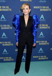 Cate Blanchett looked flamboyant in a black Alexander McQueen pantsuit with sculptural blue sleeves at the New York screening of 'Where'd You Go, Bernadette.'