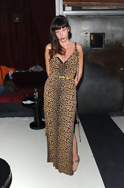 Paz looked wild in a neutral toned leopard print evening gown with a thigh-high side slit for the 'God Bless Ozzy Ozbourne' premiere after-party.