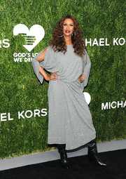 Iman looked sophisticated in a beaded gray dress by Michael Kors at the 2018 Golden Heart Awards.