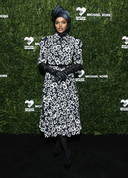 Halima Aden went for a stylish floral-sequined midi dress by Michael Kors at the God's Love We Deliver Golden Heart Awards.