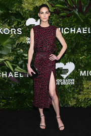 Hilary Rhoda donned a leopard-beaded burgundy dress by Michael Kors for the Golden Heart Awards.