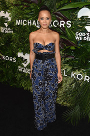 Serayah McNeill matched her top with a pair of floral paperbag pants.