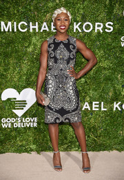 Cynthia Erivo stayed classic in a paisley-beaded sheath dress by Michael Kors at the God's Love We Deliver, Golden Heart Awards.