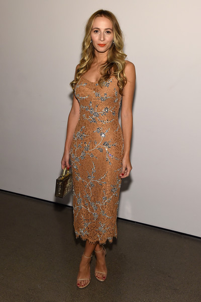 Harley Viera-Newton cut a shapely silhouette in a beaded nude lace dress by Michael Kors at the God's Love We Deliver, Golden Heart Awards.