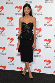 Giovanna Battaglia went the edgy route with this strapless black peplum dress with a leather bodice during the Golden Heart Awards.