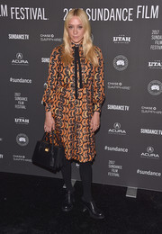 Chloe Sevigny brought her signature vintage style to Sundance with this long-sleeve print dress during the premiere of 'Golden Exits.'
