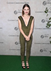 Kelly Macdonald teamed her jumpsuit with simple black platforms.