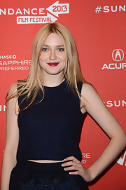 Dakota looked dark yet summery in this navy sweater crop-top at the 'Very Good Girls' premiere.