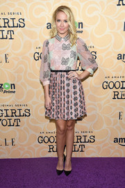 Anna Camp looked perfectly sweet in a butterfly-embroidered mini dress at the New York screening of 'Good Girls Revolt.'
