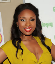 "Jennifer Hudson paired a rich orange-red lipstick with her chartreuse dress at the celebration of her new book ""I Got This: How I Changed My Ways and Lost What Weighed Me Down.'"