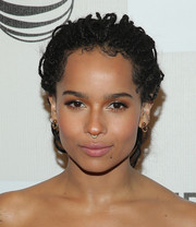 Zoe Kravitz pulled her trademark dreadlocks back into a ponytail for the premiere of 'Good Kill.'
