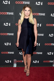 Ashley Benson was minimalist and modern in a midnight blue velvet-panel dress by Stella McCartney at the New York premiere of 'Good Time.'