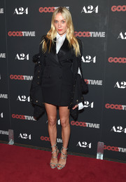 Chloe Sevigny rocked a black Y/Project tuxedo dress with drapey sleeves at the New York premiere of 'Good Time.'