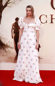 Margot Robbie went the ladylike route in a Brock Collection floral gown with puffed sleeves at the world premiere of 'Goodbye Christopher Robin.'