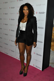 Serena Williams wore a fitted black tuxedo jacket with a pair of shorts at the launch of Google Music.