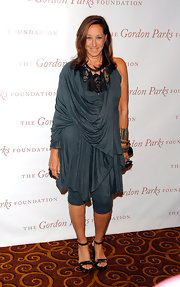 Donna wore a draped gray knit dress over her leggings for the Gordon Parks Foundation Awards Dinner.